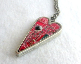 Red Heart Circuit Board Recycled Pendant SN291