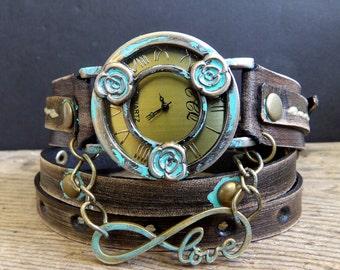 Women's leather watch, leather wrap watch,  Leather watch, Bracelet Watch, Leather bracelet, Vintage watch, watch bracelet for women