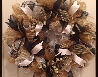Elegant Black, Gold and White Deco Mesh Wreath/Black, Gold and White Wreath/Black and Gold Wreath