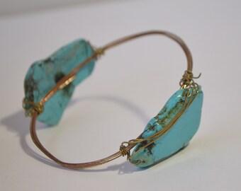 Vintage Brass Wire Blue Turquoise Natural Gemstone Slab Bangle Bracelet