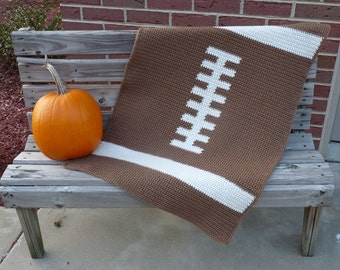 Football Baby Blanket  - Crochet PATTERN - INSTANT DOWNLOAD