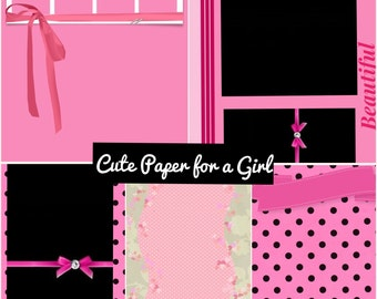 PRINTABLE Super Cute for a Girl  Digital Paper Pack Scrapbook Paper Set of 5 Sheets