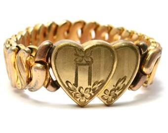 Vintage Speidelmade Phoenix signed gold filled double heart expansion bracelet