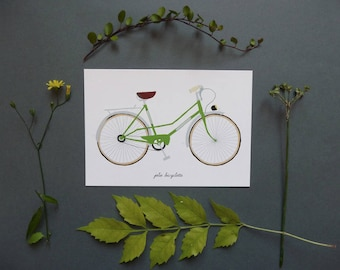"postcard with ""green"" vintage bicycle"