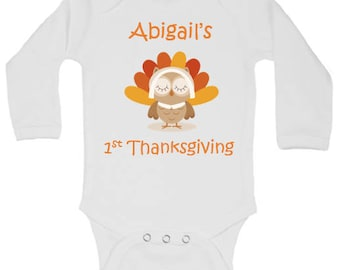 CUSTOMIZABLE Baby Girl First Thanksgiving Onesie Outfit, Girl Fall Onesie, Baby Girl Fall Outfit, Girl First Thanksgiving Outfit, Girl Pum