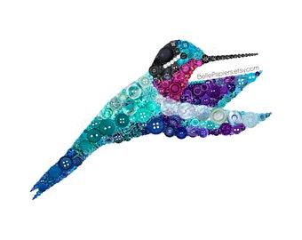 Hummingbird Wall Art | Sympathy Gift | Purple Mountaingem Hummingbird | Hummingbird Art | Button Hummingbird | Hummingbird Angel Gifts