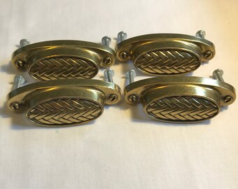 Four Brass Drawer Handles/Pulls