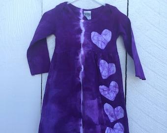 Tie Dye Baby Dress, Tie Dye Girls Dress, Purple Baby Dress, Purple Girls Dress, Purple Heart Dress, Girls First Birthday Gift (12 months)