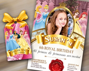 Princess Birthday Invitation, Princess invite, Princess invitation, Princess Photo Invitation, Thank you tag, Princess party printables
