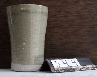 Large Handmade Ceramic Tumbler / Celadon Pottery Pint Glass / Thrown Pottery Tumbler / Stoneware Simple Green Cup / Ceramic Water Cup #544