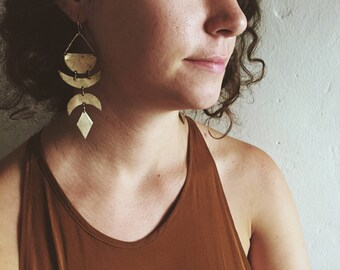 C E L E S T I A L >> Brass Lunar Earrings // moon jewelry // boho earrings // bohemian jewelry // lunar jewelry // moon phases //
