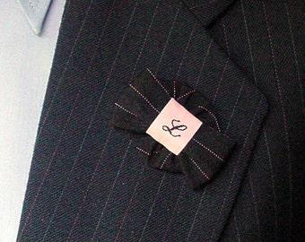 Monogram Lapel Pin Mens Bowtie Boutonniere, Personalised Custom Pin Wedding Buttonhole Lapel Flower Brooch - handmade black pink pin stripe