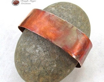 Rustic Cuff Copper Bracelet, Hammered Metal Jewelry, Simple Minimalist Metalwork, Unisex Cuff for Couples Women Men, 7th Anniversary Gifts