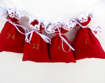 Advent Calendar Garland Kit red with white crochet border and sparkling numbers
