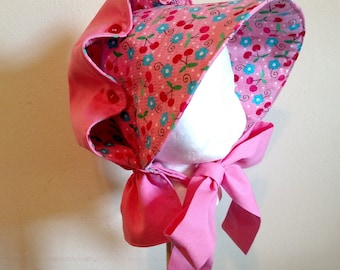 Girls Pink Button Bonnet, Size Small - 2 to 5 years
