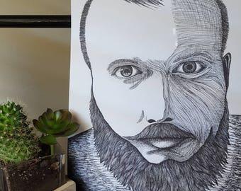 Gentleman with a beard print