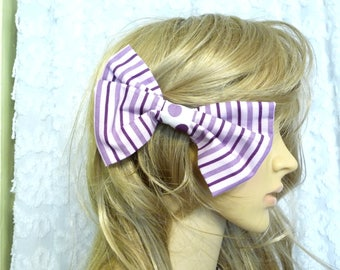 Handmade Hair Bow, Cotton Hair Bow, Purple Stripe Bow, Hair Accessory, Large Bow, Polka Dots, Hair Bow, Purple Hair Bow,  Unique Hair Bow