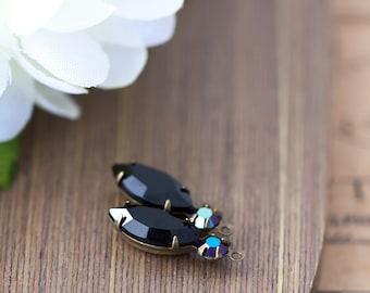 Vintage Rhinestone Charms Jet Black Glass Prong Set Navette Rhinestone Cabochon Stone Jewel Bead Pendant Drop Charm