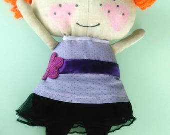 Little witch doll cloth, fabric, painted and sewn free hand, bubble & tightrope-shipping to the France