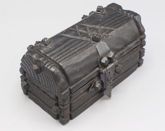 Dark Painted Wooden Treasure Chest Style Trinket Box Gothic Chunky Carved Style