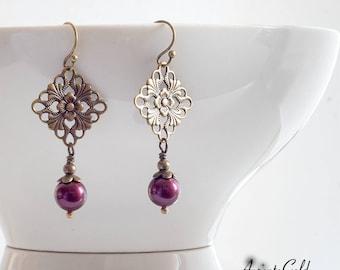 Tudor Earrings, Edwardian Earrings, Swarovski Purple Pearls, Tudor Rose, Vintage Earrings, Victorian Jewellery, Bronze Earrings, Handmade UK