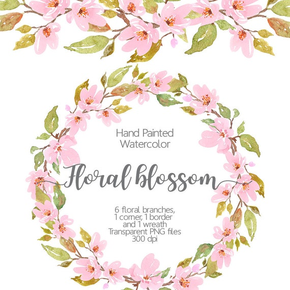 Watercolor floral clipart cherry blossom watercolor light pink this is a digital file mightylinksfo Images