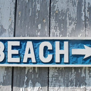 Wooden BEACH Sign Hand Carved Nautical Wall Art Coastal Home Decor Beach  Arrow Sign