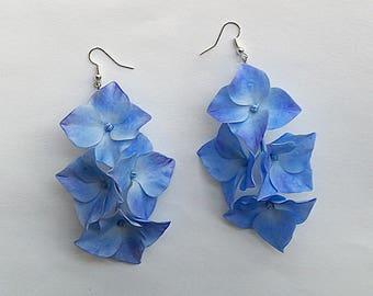 Hydrangea earrings.Floral earrings.Gift for women.Porcelain earrings.Flowers jewelry.