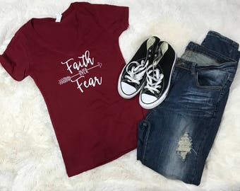 Faith Over Fear Womans T-Shirt Casual Faith Fear TShirt Womans Clothing Christian V Neck