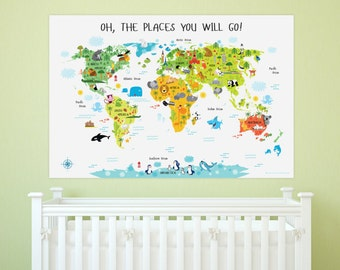 Printable wall art world map instant download nursery nursery art world map poster playroom decor nursery art print nursery decor gumiabroncs Gallery