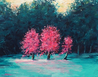 Original painting, treescape, landscape painting, colorful, mini painting, tiny art, contemporary art, gift for her, christmas gift