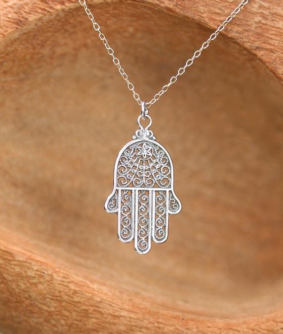 Hamsa necklace silver hamsa charm hand of god amulet like this item aloadofball Choice Image