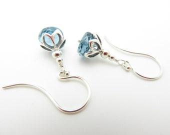 Handmade London Blue Topaz and Sterling Silver Flower Earrings