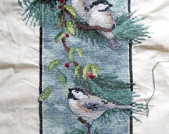 Cross Stitch Birds Needlework Kit - Needlework Kit  Birds Pine  Cones Tree Needlework - Wall Hanging -Tapestry of Birds - Dimensions Kit