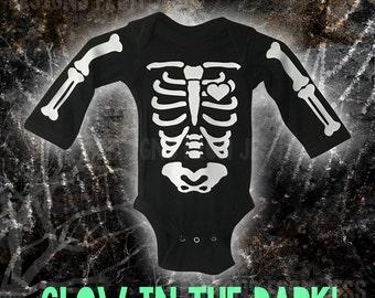 Glow in the dark baby skeleton onesie  - Skeleton Onesie Long Sleeve or Short Sleeve