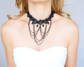 SALE gothic black lace ribbon choker necklace - chain tassel choker  -  victorian beaded choker // jewelry gift