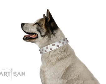 "Elegant White Leather Dog Collar - ""Wild Flora"" Decor by Artisan (C591) - Stylish Decorations - Decorated Dog Collar - Handmade Dog Collar"