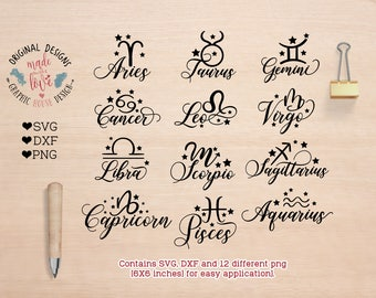 Astrology svg, zodiac signs svg, Zodiac Signs Cut Files in SVG, DXF, PNG, Zodiac Signs Clipart, Zodiac Signs Overlay, Star Signs svg, Cricut