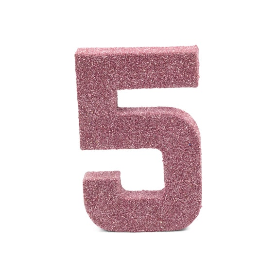 """8"""" Glitter Number 5, Paper Mache Number 5, Giant Blush Pink Number, Centerpiece Number Five, Table Letters, Large Decorative Pink Birthday"""