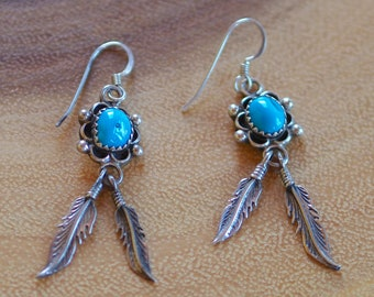 Blue Bird Turquoise & Feathered Dangle Earrings, Vintage, Native Jewelry.
