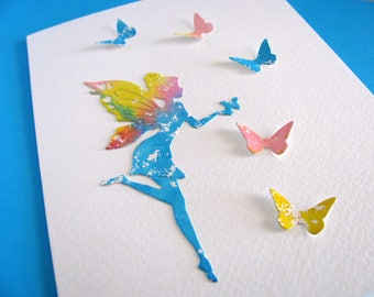 Watercoloured Fairy with 3D Butterflies on Creamy Ivory Card / Turquoise, Peach, Yellow / A2 Size / Ready to Ship