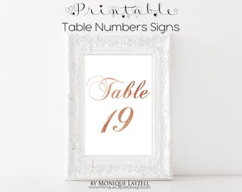 Printable 4 x 6 Table Number Signs Rose Gold 11-20