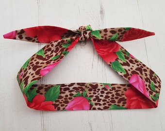 Baby Head Scarf - Leopard And Rose Print - Cotton Bib Baby Shower Bandana Bib Boy or Girl