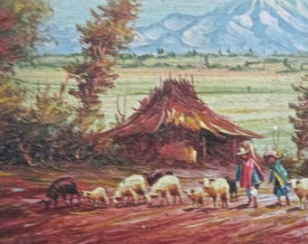 1920s Small Oil Painting Pastoral Scene Country Animals and Farmers