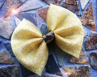 Gold Glitter Metallic Holiday Christmas Hair Bow Set of 2