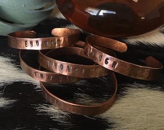 Copper cuff hand stamped