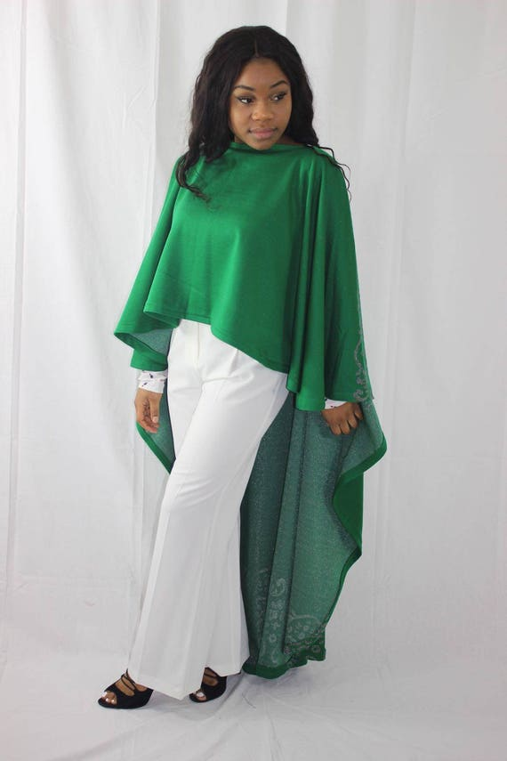 Alicia Green Hi-Lo Poncho Cape
