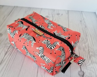 Orange Makeup Bag, Zebra Print, Cosmetic Bag, Toiletry Bag Women, Makeup Box Bag, Makeup Case, Cosmetic Pouch, Makeup Pouch, Large Bag