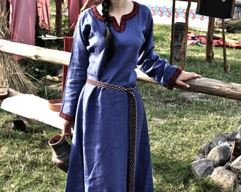 Early Medieval linen underdress gown 100% linen. Viking costume, reconstruction. Medieval Kirtle