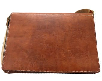 Genuine Tan Leather Messenger Bag / 13 inch Laptop Compatible/ A4 Folders